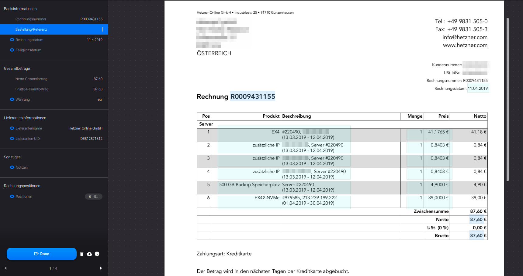 OCR Modul Validierung Interface