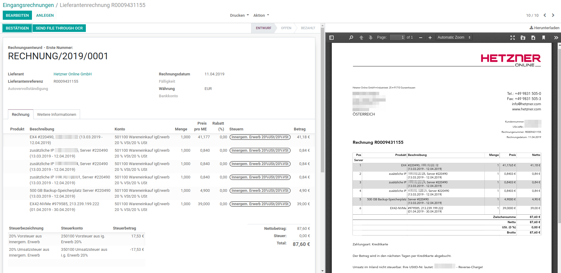 odoo und OCR Interface