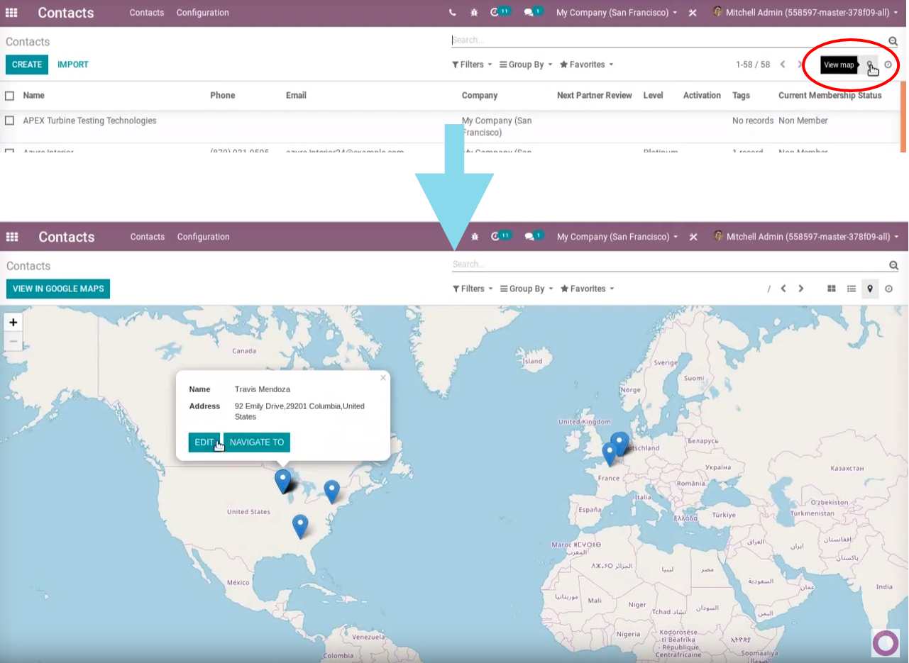 Odoo Integrated Map View